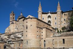 Urbino, art city of marche region, italy, europe. View of urbino, ancient walls and palaces , in urbino, marche region, in italy, europe Stock Image