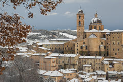 Urbino city with snow in the winter season Royalty Free Stock Photography