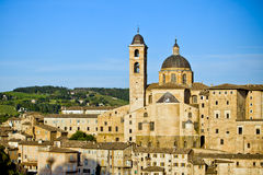 Urbino city view, Italy. Medieval city view on the sunset, Urbino,  Italy Royalty Free Stock Images