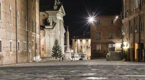 Urbino Italien, nattsikt Arkivfoton
