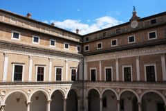 Urbino, Italy, ducal palace of Montefeltro Royalty Free Stock Photography