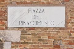 Urbino, Italy, Renaissance square marble plaque Stock Photography