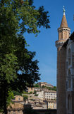 Urbino. Side view of one of the two towers of the Doge`s Palace Royalty Free Stock Image