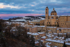 Urbino at winter sunset Stock Photography