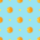 Urchins with Starts Seamless Pattern Vector Royalty Free Stock Photography