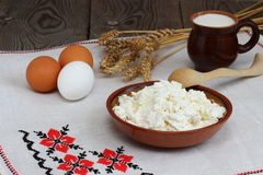 Ð¡urd. Dairy product on a cook-table royalty free stock photos