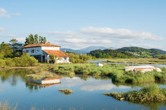 Urdaibai biosphere at biscay, spain. Landscape at biscay coutryside in basque country Stock Image