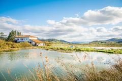 Urdaibai biosphere at biscay, spain. Landscape at biscay coutryside in basque country Royalty Free Stock Image