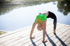 Urdhva Dhanurasana pose Royalty Free Stock Photos