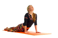 Urdhva Mukha Svanasana, a position in Yoga, is also called  Upward Facing Dog Royalty Free Stock Photo