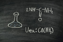 Urea acid on blackboard royalty free stock images
