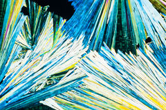 Urea or carbamide crystals in polarized light Stock Images