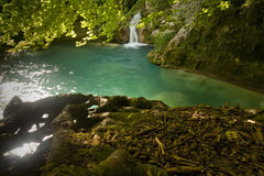 Urederra I. Wild river of clear water with reflections stock photography