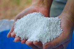Ureia, adubo químico do nitrogênio na mão do fazendeiro Fotos de Stock