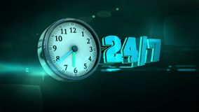 24 uren 3d Animatie van de 7 Aantallenklok van de Dagenweek royalty-vrije illustratie