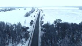 Uren en landschap Sneeuw bos, luchtschot E stock videobeelden