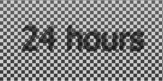 24 uren Omring de uitdrukking in het tekstcijfer 24 uur op 24 uur het werk Royalty-vrije Stock Afbeelding