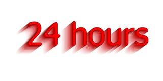 24 uren Omring de uitdrukking in het tekstcijfer 24 uur op 24 uur het werk Vectorillustratie van rode kleur Stock Foto