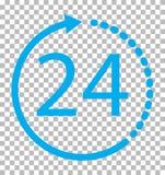 24 urenpictogram op transparante achtergrond Royalty-vrije Stock Afbeeldingen