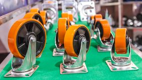 Urethane on metal core wheel. For work Industrial stock photography