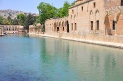Urfa City. Scenic view of Halil-ur-Rahman mosque with Pool of Sacred Fish (Balikligol) in foreground, Urfa city, Turkey Stock Image