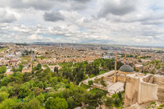 Urfa cityscape and  from castle. Photo of a Urfa taken from the city castle at a cloudy day Stock Images
