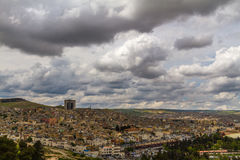 Urfa cityscape from. Photo of a Urfa city taken from the city castle in a cloudy day Royalty Free Stock Image