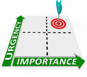 Urgency Importance Matrix - Arrow and Target. Focus on the things that are high in urgency as well as importance by plotting your priorities in the four Stock Photos