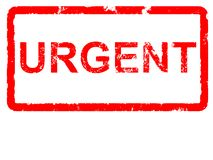 Urgent. Grungey rubber stamp stating URGENT with copyspace Royalty Free Stock Photography
