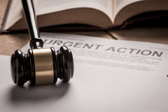 Urgent Action. With gavel. Class action concept royalty free stock photo