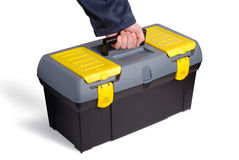 Urgent Call. Male hand taking tool case over white background Royalty Free Stock Photo