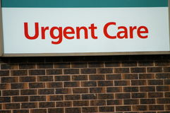 Urgent care. Small entrance sign for an urgent care facility stock photo