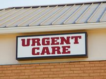 Urgent Care Clinic Sign. Red and White Urgent Care Clinic Sign royalty free stock images