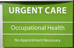 Urgent Care Sign. New Urgent Care and Occupational Health Sign with No Appointment Needed royalty free stock photo