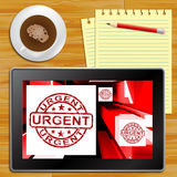 Urgent On Cubes Shows Urgent Priority Tablet Royalty Free Stock Images
