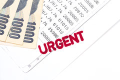 Urgent document, bank statement Stock Image