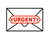 Urgent envelope icon with important letter Royalty Free Stock Photos