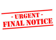 URGENT FINAL NOTICE. Red Rubber Stamp over a white background Stock Image