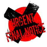 Urgent Final Notice rubber stamp. Grunge design with dust scratches. Effects can be easily removed for a clean, crisp look. Color is easily changed Stock Photography