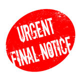 Urgent Final Notice rubber stamp. Grunge design with dust scratches. Effects can be easily removed for a clean, crisp look. Color is easily changed Royalty Free Stock Images