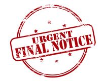 Urgent final notice. Rubber stamp with text urgent final notice inside,  illustration Stock Photography