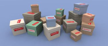 Urgent and fragile packages. A 3d render of some urgent and fragile packages Royalty Free Stock Photo