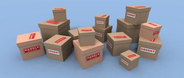 Urgent and fragile packages. A 3d render of some urgent and fragile packages Royalty Free Stock Photography