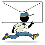 Urgent mail. Cartoon action icon of people at work - postman sending urgent mail Royalty Free Stock Photography