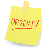 Urgent Message on Sticky Paper Royalty Free Stock Photo