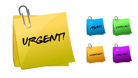 Urgent messages on post-it notes illustration desi Royalty Free Stock Photography