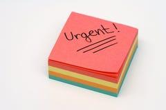 Urgent note stock image
