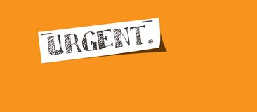 Urgent note handwritten. Handwritten note with text 'URGENT' with staples on an orange background royalty free illustration