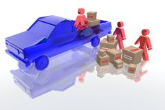 Urgent packages. Employees loading urgent packages on a pickup Stock Images