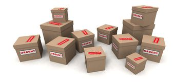 Urgent packages. A 3d render of some urgent packages Royalty Free Stock Photography